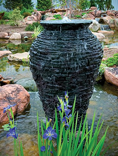 Aquascape 78207 Medium Stacked Slate Urn Fountain for Landscape and Gardens, 45 Inches Tall by Aquascape