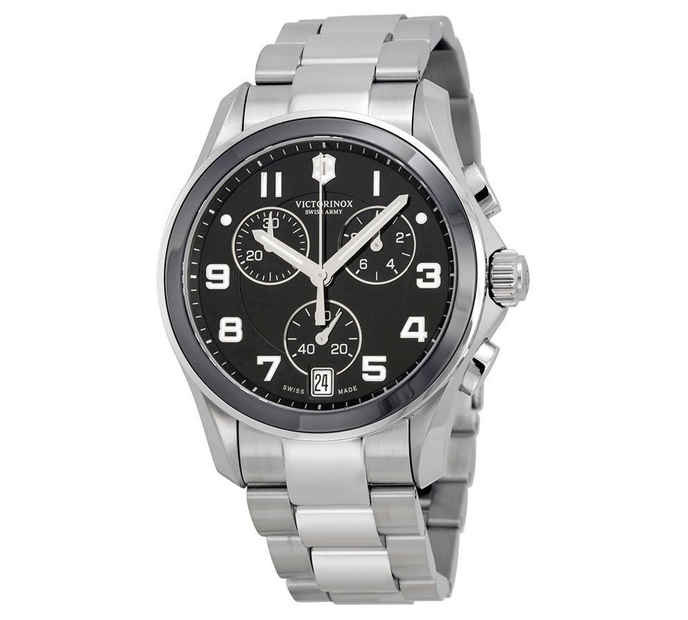 Victorinox Swiss Army Black Dial SS Chronograph Quartz Male Watch 241544