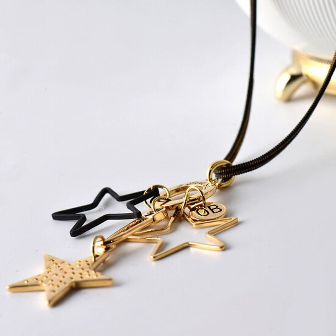 Ficccy Star Necklace Gold Star Long Necklace Fashion Sweater Long Necklace Star Pendant Jewelry