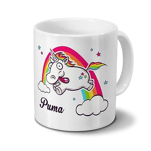 2537d2ed23b Tasse mit Namen Puma - Motiv Verrücktes Einhorn - Namenstasse,  Kaffeebecher, Mug, Becher