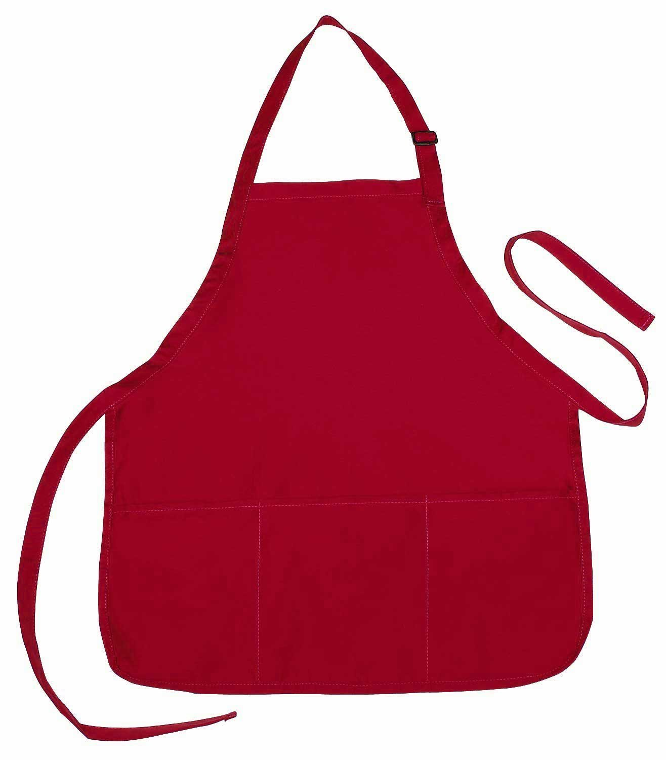 Apron Commercial Restaurant Home Bib Spun Poly Cotton Kitchen Aprons (3 Pockets) Waitress, Waiter - Black, Green, Royal, Navy, Green, Red, White, 22'' x 24'' (50, Red)