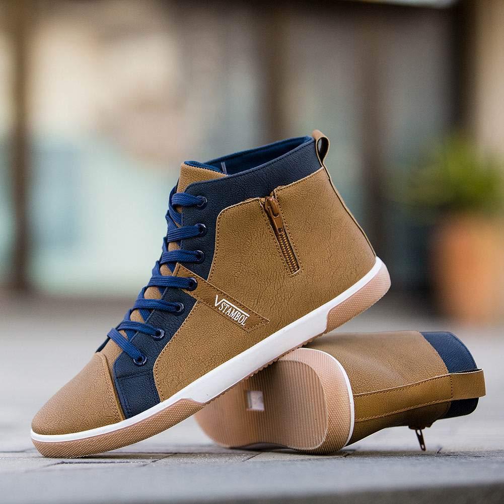 Delleu Chaussures de Sport Plates pour Hommes /à Lacets avec Fermeture /à glissi/ère