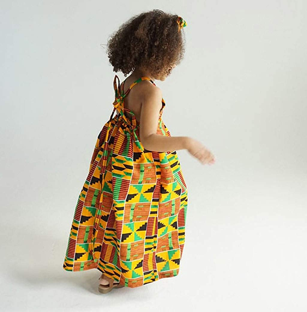 African Print Baby Dress,Baby Girls Print Backless Dress Suspenders Skirt Baby Dress African Baby Clothes Yamally