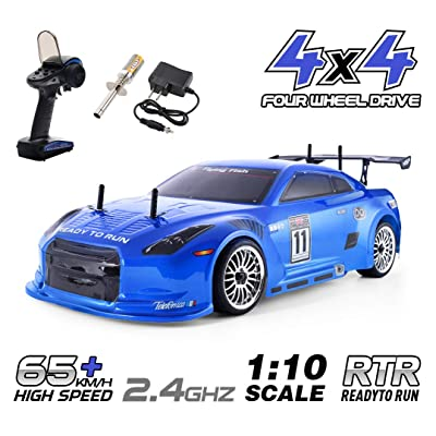 HSP 4wd RC Car 1:10 On Road Touring Drift Two Speed Nitro Power Vehicle(Blue): Toys & Games