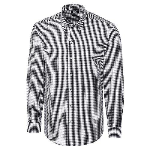 カッターとバックLongsleeveストレッチギンガムゴルフシャツ2018チャコールXXLサイズ