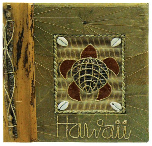 - Islander Hawaiian Photo Album Turtle with Green Leaf 9 x 11 Inch