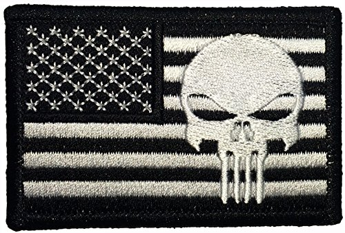 American USA Flag with Punisher Skull Sew on Iron on Embroidered Applique Patch 2