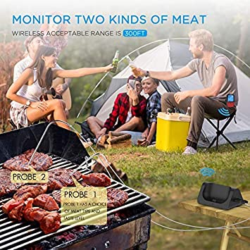 Instant Read Grill Thermometer with 2 probes Turata Wireless Meat Thermometer Black Smoker digital Meat Thermometer for Grilling Meat Thermometer Oven BBQ