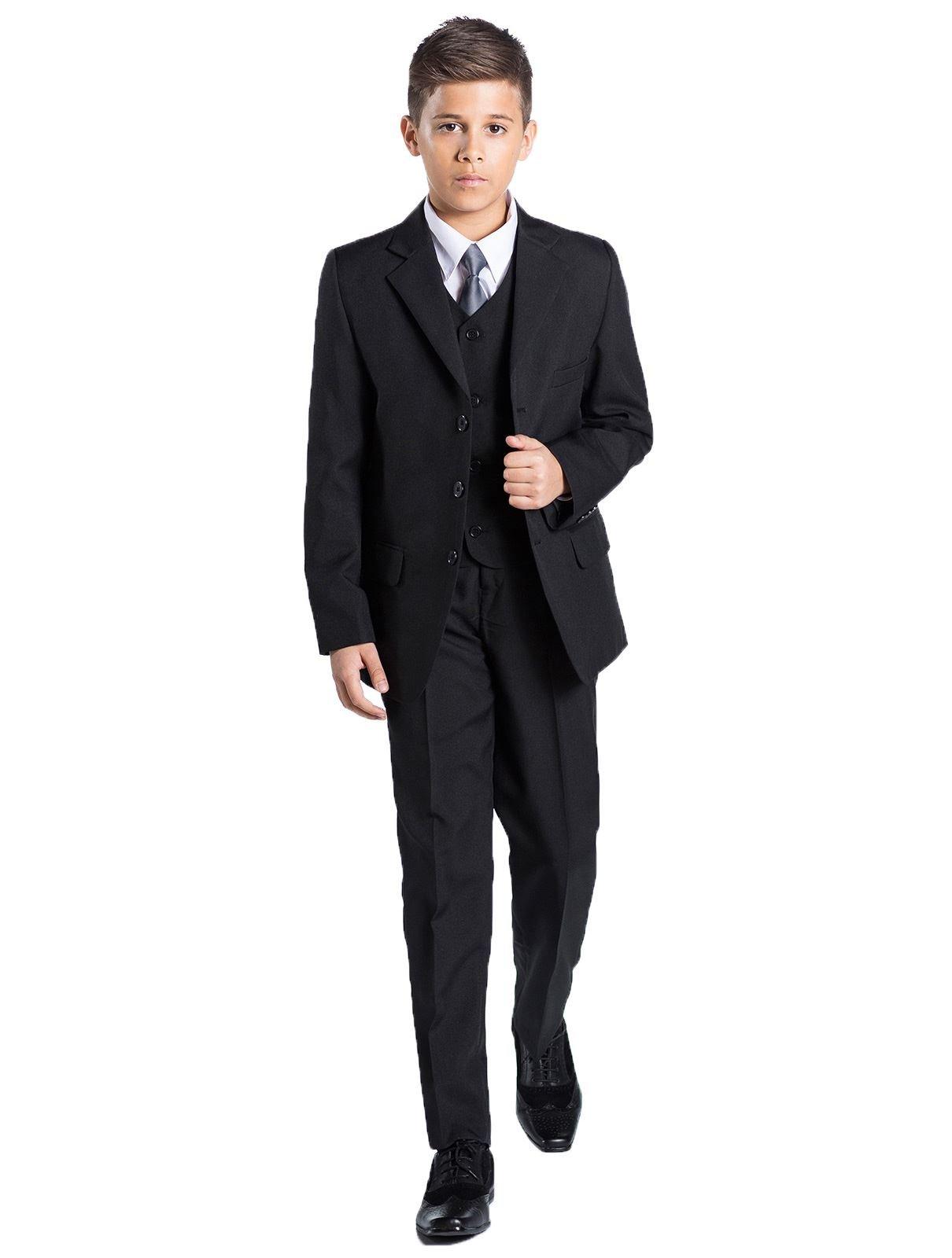 7-8 Years Romario Boys Grey 4 Piece Waistcoat Suit