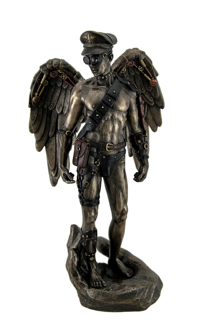 Resin Statues Nearly Nude Male Steampunk Angel In Leather Attire Standing On Palm Statue 6 X 11.75 X 5.5 Inches Bronze