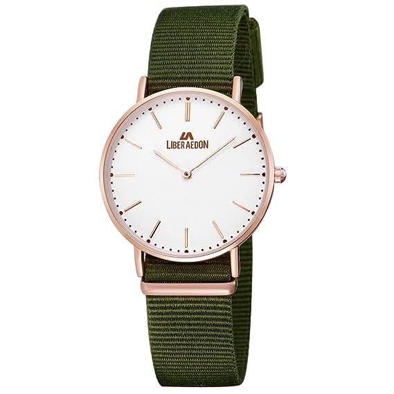 Liber Aedon moda verano Premium lienzo tela relojes banda con Ultra Thin Classic Rose tono dorado relojes para señoras mujeres