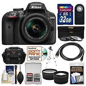 Nikon D3400 Digital SLR Camera & 18-55mm VR DX AF-P Zoom Lens (Black) with 32GB Card + Case + Tripod + Filters + Tele/Wide Lens Kit