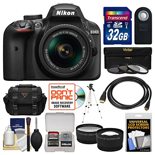 Nikon D3400 Digital SLR Camera & 18-55mm VR DX AF-P Zoom Lens (Black) with 32GB Card + Case + Tripod + Filters + Tele/Wide Lens Kit