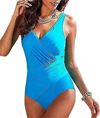 POINGS Femme Maillot de Bain 1 Pieces Push Up Ruché Effet Ventre Plat  Maillot Plage Monokini  Amazon.fr  Vêtements et accessoires e031dadf1af2