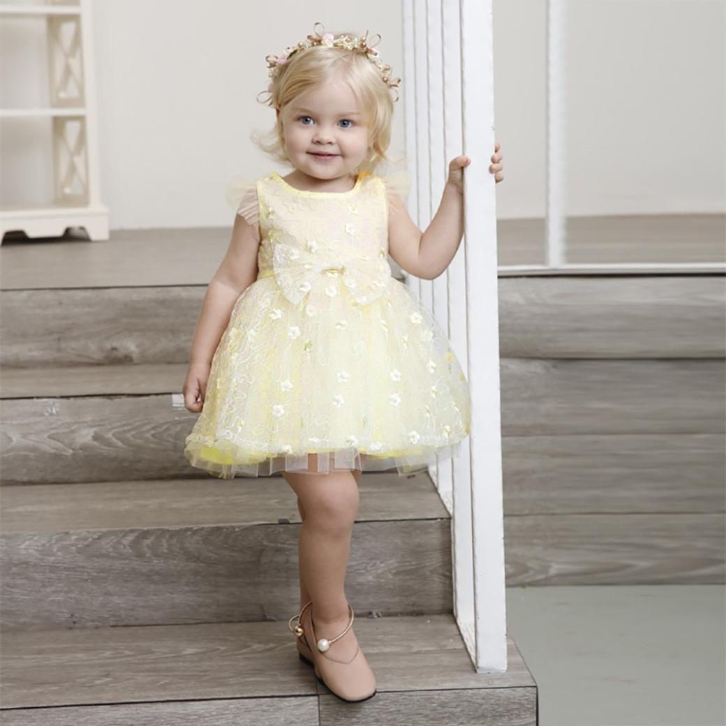 WARMSHOP Elegant Girls Solid Color Floral Print Cute O-Neck Sleeveless Net Yarn Princess Skirt Dress