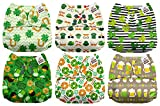 Mama Koala One Size Baby Washable Reusable Pocket Cloth Diapers, 6 Pack with 6 One Size Microfiber Inserts (Kiss Me for Luck)