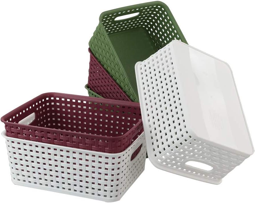 6 Paquetes Mayish Cestas de Almacenamiento de Pl/ástico de Rat/ón Color Rojo Vino Verde Oscuro Blanco