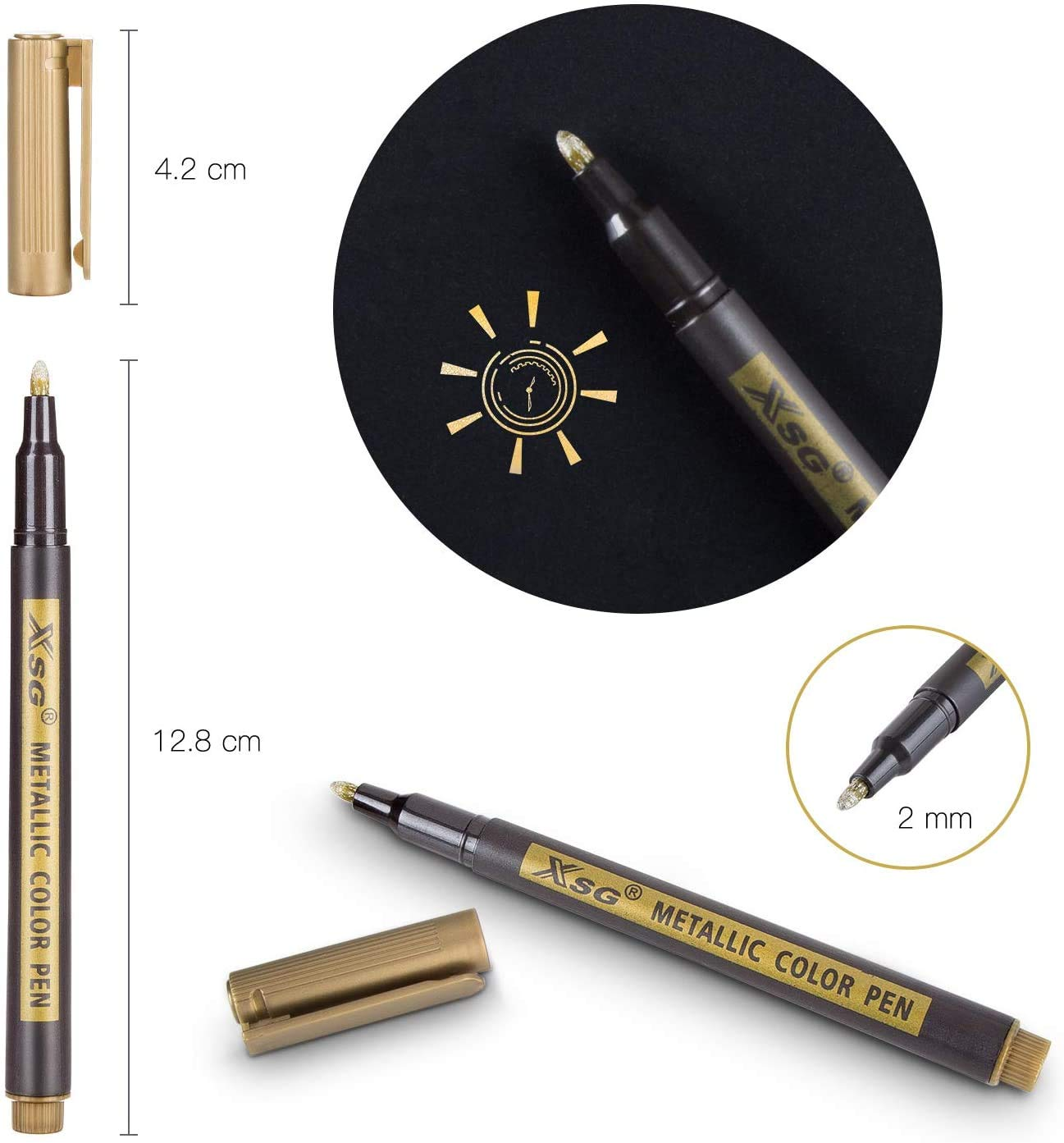 Metallic Marker Pens XSG Set of 10 Colors Fine Point Metallic Markers New