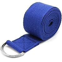 young Forever Cinturón de Yoga Ajustable con Correa elástica y Anilla en D para Ejercicios de Yoga, Estiramiento y Pilates