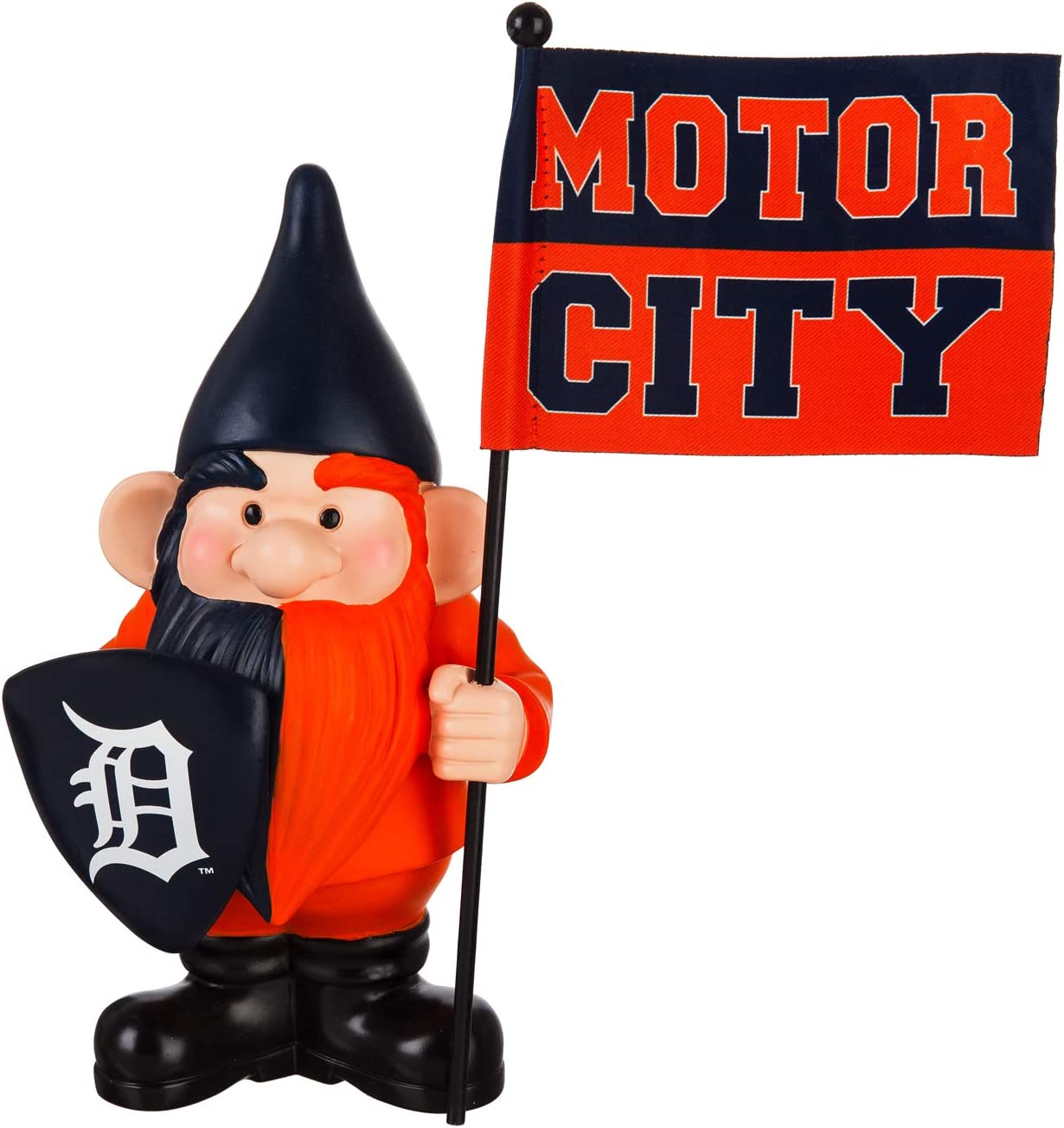 "Rico Industries, Inc. Tigers 10"" Garden Gnome Flag Holder Outdoor Statue Decoration Baseball"