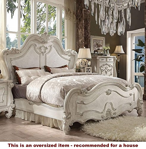 Furniture Bedroom French Antique (ACME Versailles Bone White Eastern King Bed)
