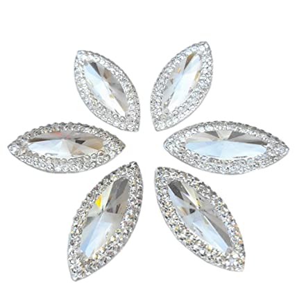 a491f69d25079 Clear FlatBack Beads Navette Marquise Shape 100pcs 10x24mm Silver Color  Resin material 2 holes Sew-on Reinestones Sewing for Wedding Dress