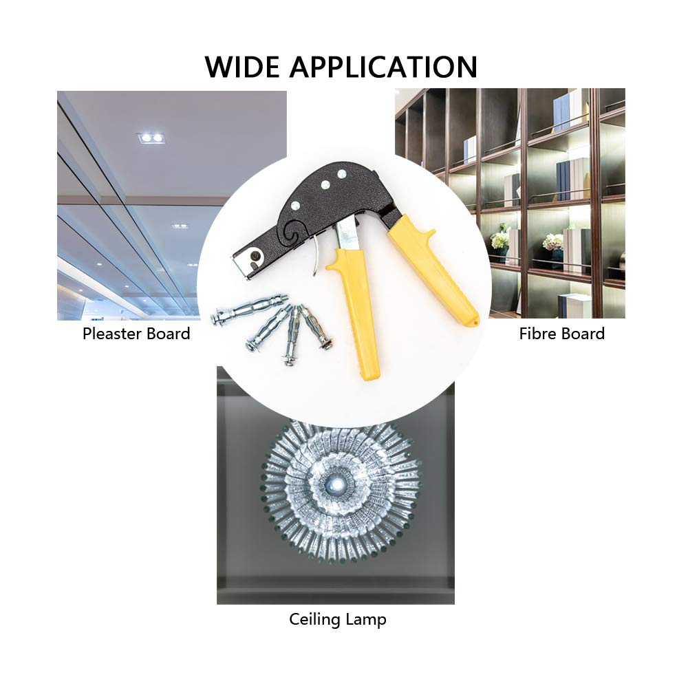 Home Master Hardware Heavy Duty Wall Anchor Setting Tool with Molly Bolt Hollow Drive Wall Anchor Assortment Kit for Cavity Anchor Plasterboard Fixing 72 Pieces
