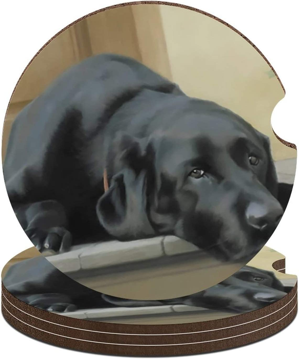 Car Coasters for Women/Men - 1/4/6 Pack Absorbent Black Lab Ceramic Coasters with Rubber Backing Easy Fetch