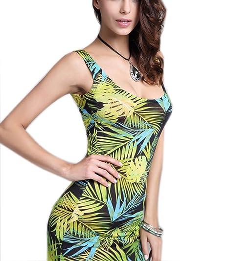 39c2218d8ba YiYaYo Womens Boho Bodycon Summer Tropical Floral Print Tunic Beach Maxi  Dress at Amazon Women s Clothing store