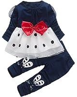 Lylita Carino bambino baby girl bowknot manica lunga dot Princess Dress + set di pantaloni di coniglio