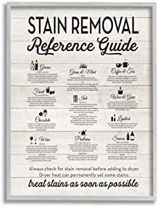 Stupell Industries Stain Removal Reference Guide Typography Grey Framed Wall Art, 11 x 14, Design by Artist Lettered and Lined