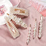 Premium Pearl Hair Clips for Women Girls, 6 Pcs Fashion Sweet Artificial Pearl Barrettes for Party, Wedding, Daily, Decorative Hair Accessories