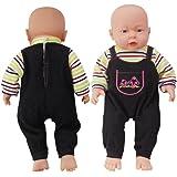 Rifi Baby Doll's Clothes Denim Pants Shirt Jumpsuit Set Blue Stripes for 14 -16 inches Dolls