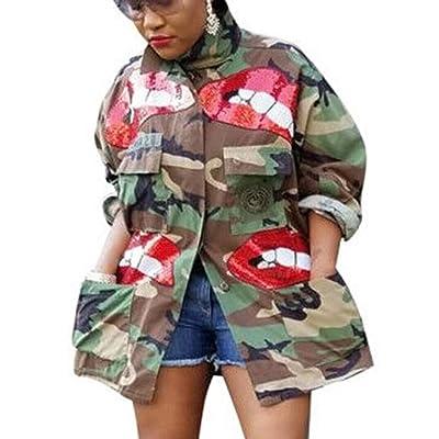 Sexyshine Women's Classic Casual Long Sleeve Camo Lightweight Zipper Outwear Short Jacket: Clothing