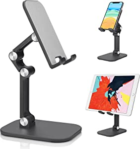Cell Phone Stand, Tablet Holder, Amzpas Upgraded Height Angle Adjustable Aluminum Phone Holder Stand with Anti-Slip Silicon Pad for Desk, Compatible with 4