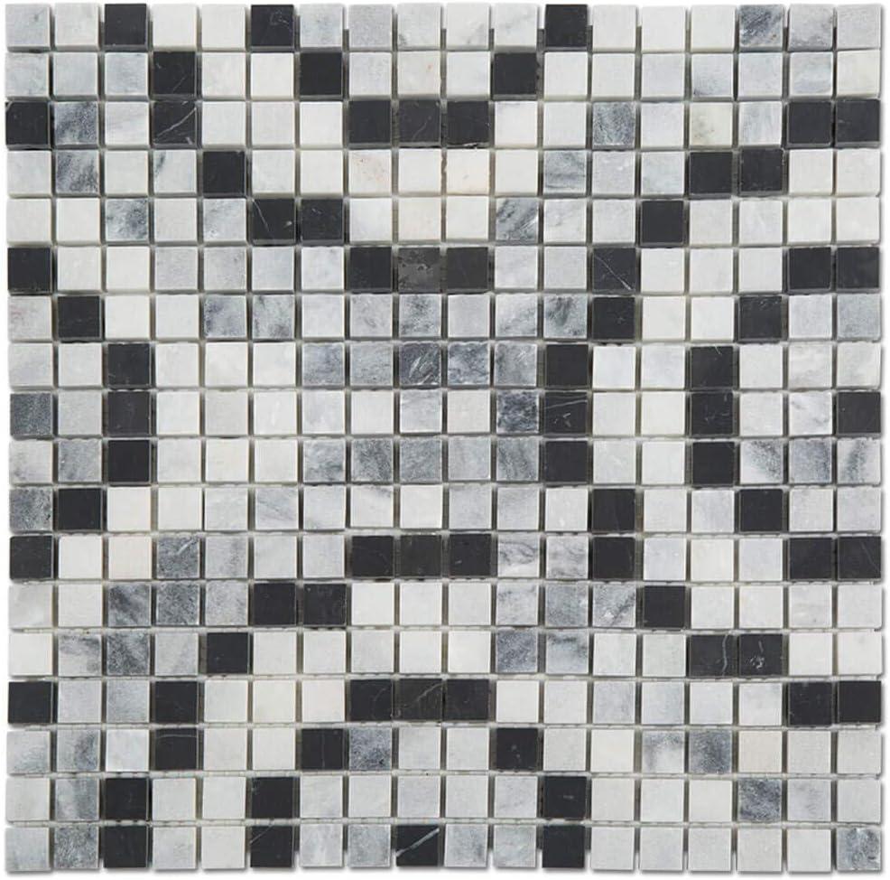 Soulscrafts Natural Marble Square Mosaic Tile Gray Honed Kitchen Backsplash Bathroom Wall Floor Tile White 5-Pack, 5 sq.ft. Black /& Grey