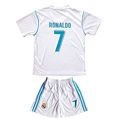 17/18 New Season Real Madrid 7 Ronaldo Kids/Youths Home Soccer Jersey Shorts