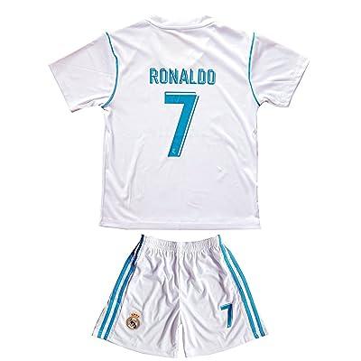17/18 New Season Real Madrid 7 Ronaldo Kids/Youths Home Soccer Jersey Shorts