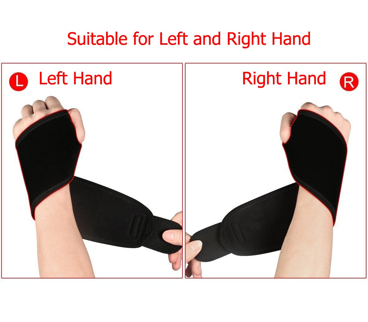 Wrist Wraps Brace Support For Carpal Tunnel Arthritis - Compression Braces Stabilizer - For Men Women Kids - Left And Right Hand - One Hand Adjustable - Best For Weight Lifting Bowling Workout (Black) by Wise Impress (Image #6)