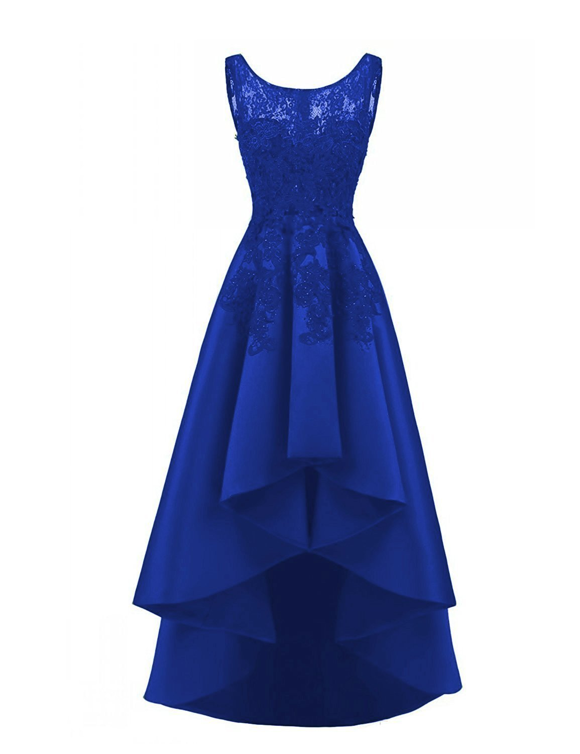 23f8bdabf1335 Home/Brands/DarlingU/Women's High Low Royal Blue Bridesmaid Dresses Lace  Applqiues Cocktail Party Gowns Size 18. ; 