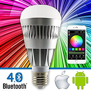 Lumen8 Bluetooth 10W Multi-Colored Smart LED Light Bulb; Smartphone Controlled, Dimmable - Works with iPhone, Android Phone and Tablets (BT10WS)