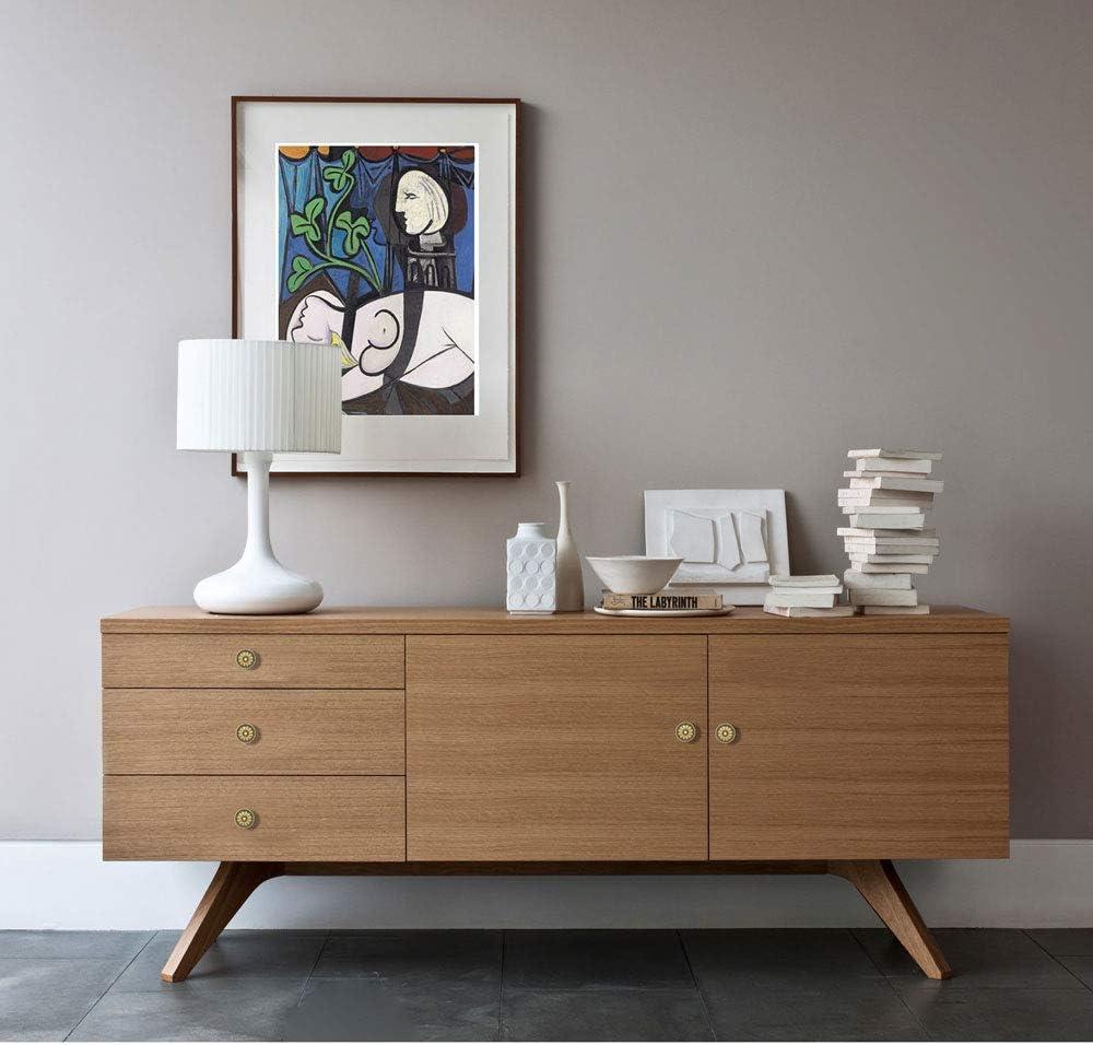 15-Pack of Antique Brass Kitchen Cabinet Knobs Pulls Round Vintage Dresser Drawer Handles for Furniture Cupboard Door Weathered Bronzed Victorian Floral Pattern