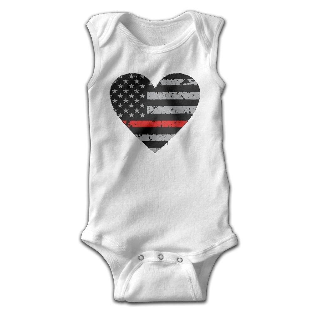 braeccesuit Thin Red Line Heart Firefighter Baby Newborn Crawling Clothes Sleeveless Romper Bodysuit Onesies Jumpsuit White