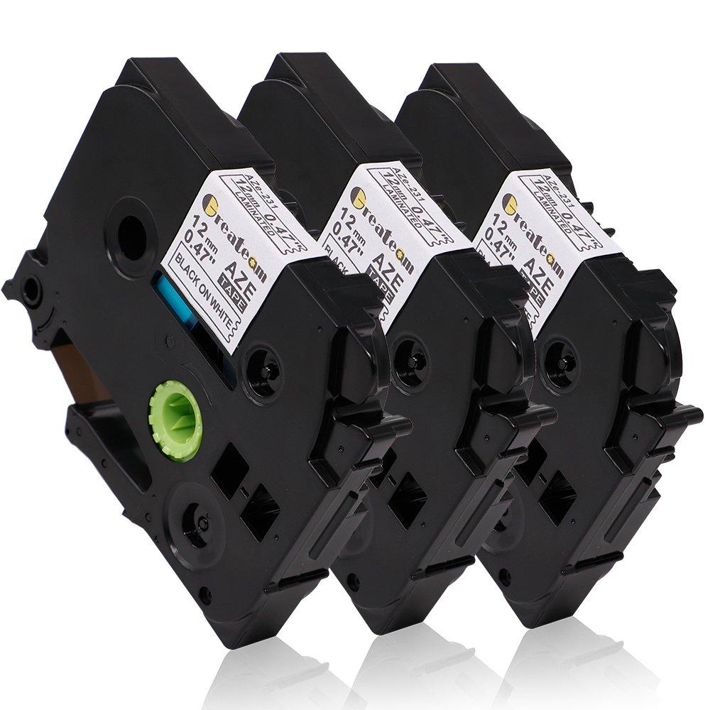 3 Pack Compatible Brother P-touch Label Tape 12mm 0.47 inch, Ptouch Label Maker Tape TZ TZe 231 TZ-231 TZe-231 Black on White,p-touch labeler PT-H100 PT-D210 PT-H110 PT-D400AD PT-D600,