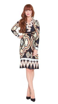 4f819dc388dd6 Olian Maternity Women's Abstract Print Surplice Neck Dress Medium Brown