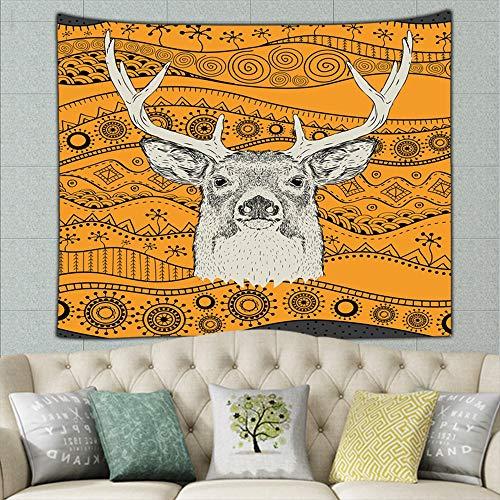 Hand Draw Deer portra on African Animals Wildlife Mural for Bedroom Living Room Dorm Home Décor 50ʺ × 60ʺ
