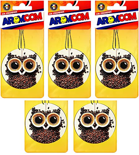 Aromcom Car Air Freshener, 15pack, Coffee Cappuccino Fragrance, 3D Model with 100% French Perfume Pack of 15 - 3d Air Freshener