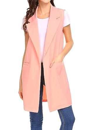 9a42694d91e92 Beyove Women s Sleeveless Oversized Open Longline Duster Blazer Jacket Coat
