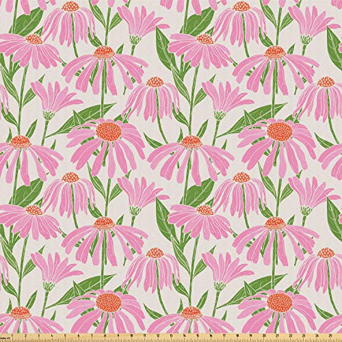 Ambesonne Garden Art Fabric by The Yard, Botanical Pattern with Echinacea Flowers Stems and Leaves Pink Gardening Plants, Microfiber Fabric for Arts and Crafts Textiles & Decor, 1 Yard, Multicolor from Ambesonne