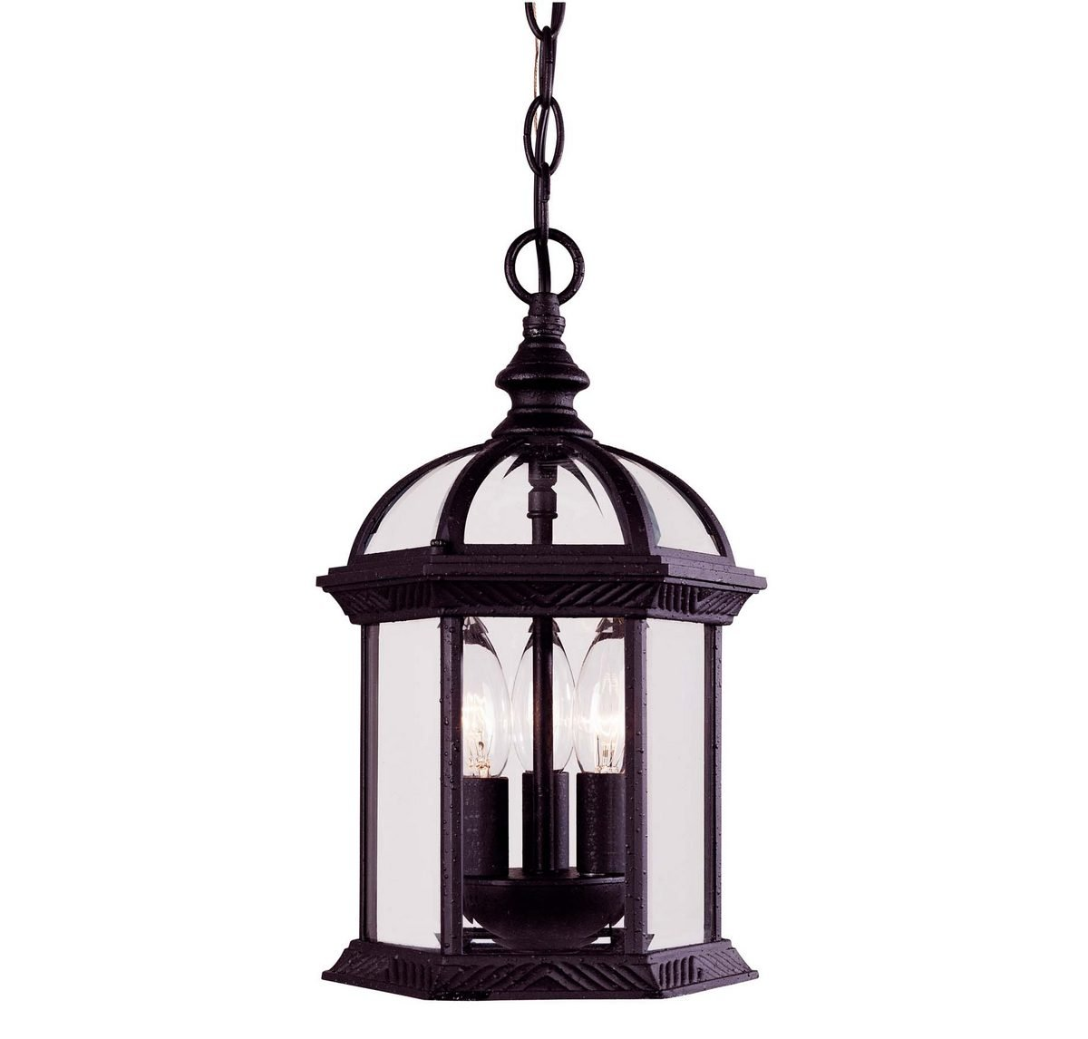 Savoy House 5-0635-BK Outdoor Pendant with Clear Beveled Shades, Textured Black Finish by Savoy House
